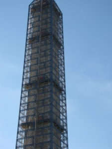 Close up of the scaffolding with the stone block effect
